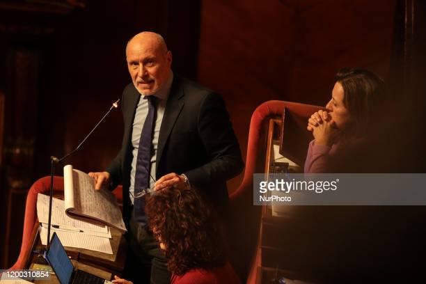 Senator Gregorio De Falco during his lecture in the Senate Chamber in Rome Italy on February 12 2020