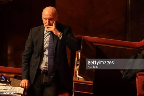 Senator Gregorio De Falco in the Senate Chamber in the Senate Chamber in Rome Italy on February 12 2020