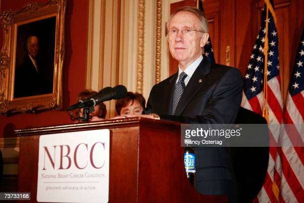 Senator Harry Reid speaks at the National Breast Cancer Coalition press conference at The Capitol on March 28 2007 in Washington DC