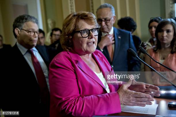 Senator Heidi Heitkamp a Democrat from North Dakota speaks during a news conference after a weekly Democratic luncheon meeting at the US Capitol in...