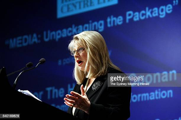 Senator Helen Coonan delivering her speech, Media Unpacking the Pakage, to the Menzies Research Centre, Sydney, 4 August 2006. SMH Picture by ROBERT...