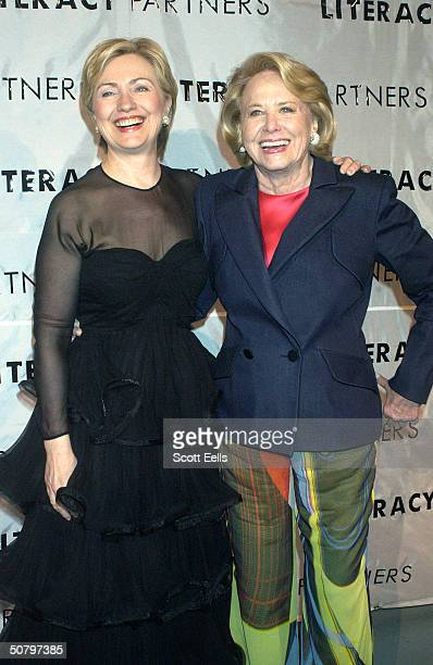 Senator Hillary Clinton and Liz Smith pose backstage for the 20th Anniversary Celebration of 'Literacy Partners' where famous authors and politicians...