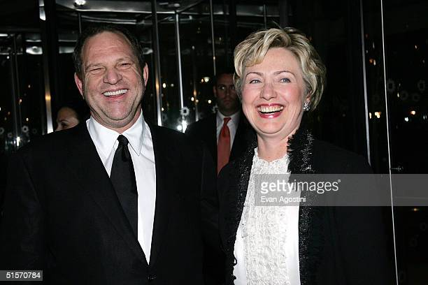 Senator Hillary Clinton and Miramax boss Harvey Weinstein arrive at the Brooklyn Museum for the premiere of Miramax Films Finding Neverland October...
