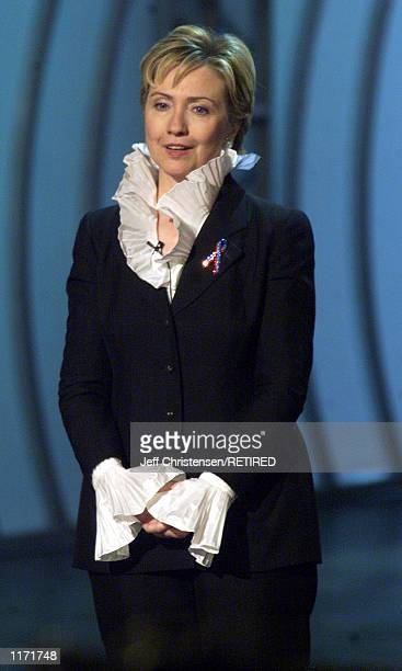 Senator Hillary Clinton appears at the 2001 VH1/Vogue Fashion Awards October 19, 2001 in New York City.
