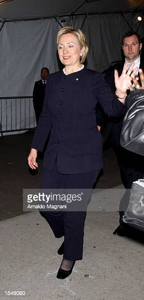 Senator Hillary Clinton arrives at a Metropolitan Museum Gala October 29 2002 in New York City
