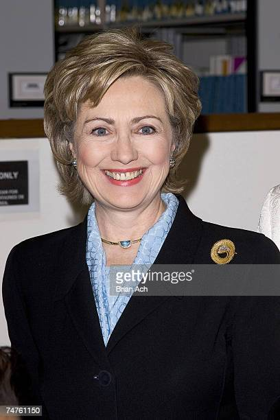 Senator Hillary Clinton at the Langston Hughes Library in New York, New York