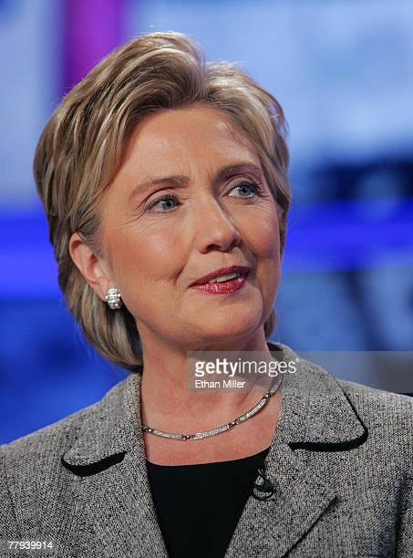 S Senator Hillary Clinton is introduced during a Democratic presidential debate at UNLV sponsored by CNN November 15 2007 in Las Vegas Nevada The two...