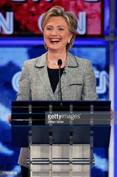 S Senator Hillary Clinton laughs during a Democratic presidential debate at UNLV sponsored by CNN November 15 2007 in Las Vegas Nevada The two hour...