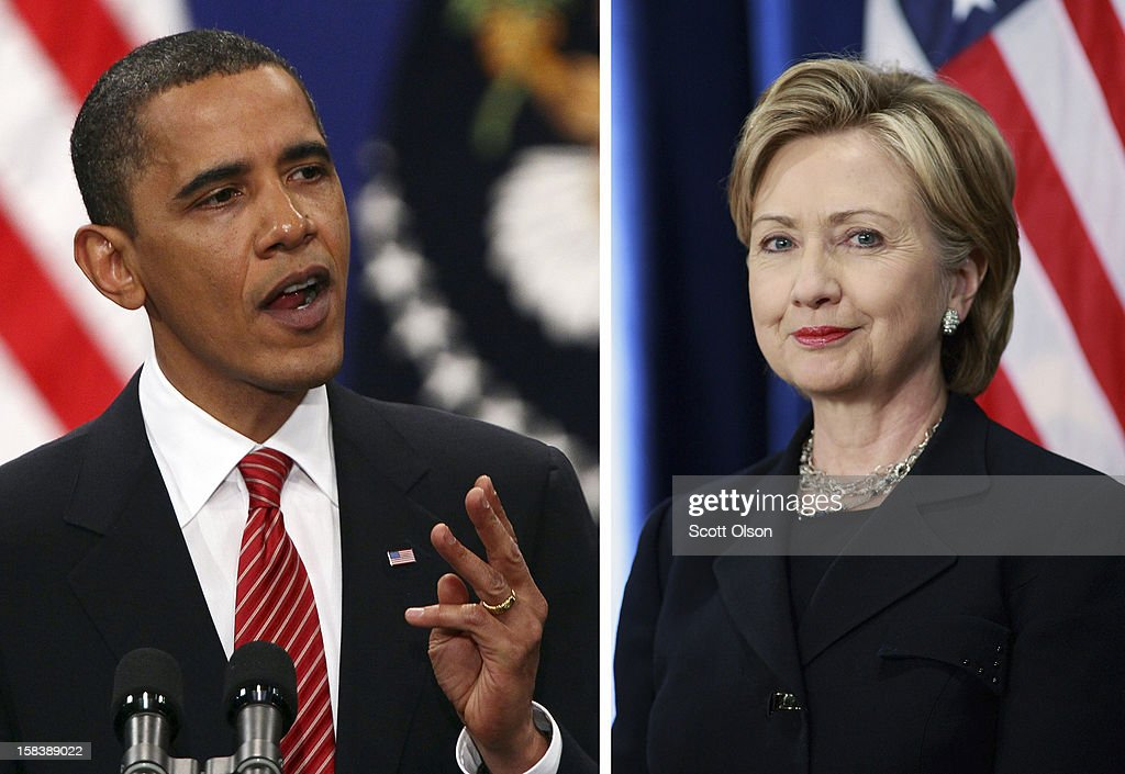 In this composite image a comparison has been made between US President Barack Obama and his serving Secretary of State Hillary Clinton. CHICAGO - DECEMBER 01: Senator Hillary Clinton (D-NY) listens as President-elect Barack Obama introduces her as his choice for secretary of state during a press conference at the Hilton Hotel December 01, 2008 in Chicago, Illinois.