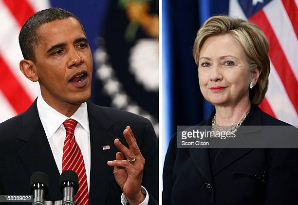 In this composite image a comparison has been made between US President Barack Obama and his serving Secretary of State Hillary Clinton CHICAGO...