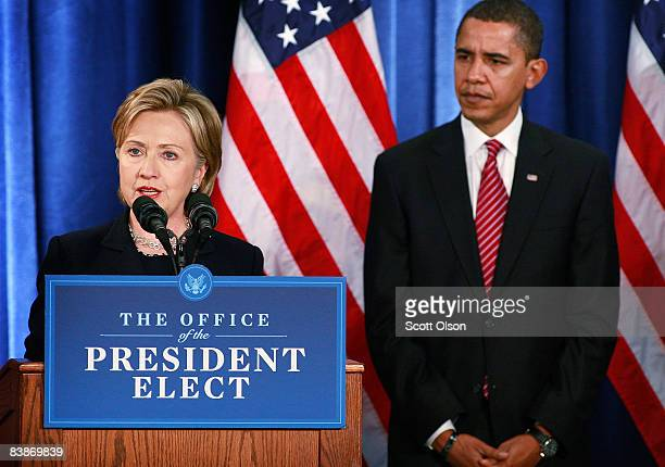 Senator Hillary Clinton speaks after Presidentelect Barack Obama introduced her as his choice for secretary of state during a press conference at the...