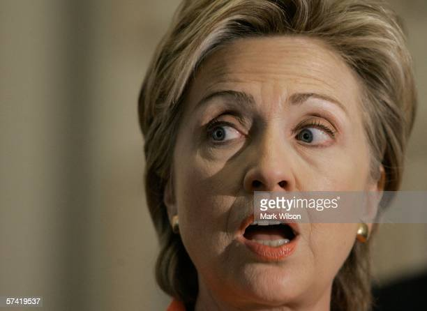 S Senator Hillary Clinton speaks during a news conference on Capitol Hill April 25 2006 in Washington DCThe news conference was held to announce the...