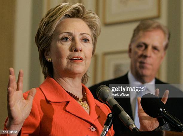 S Senator Hillary Clinton speaks while flanked by Liz Claiborne Chairman Paul R Charron during a news conference on Capitol Hill April 25 2006 in...