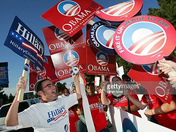 Senator Hillary Clinton supporter Casey Ley and supporters of Senator Barack Obama chant during a rally prior to a Democratic presidential debate at...