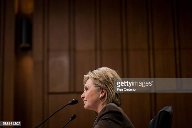 Senator Hillary Clinton testifies at a hearing before the Senate Foreign Relations Committee on her nomination to be Secretary of State in Washington...