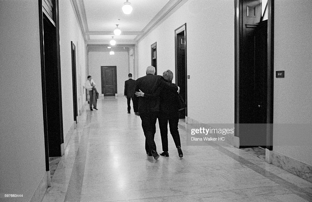 Senator Hillary Rodham Clinton and Senator Patrick Leahy are photographed for Time Magazine on July 19, 2010 in Washington DC. Senator Clinton and Senator Leahy walk down the hall together on her way to vote on an appropriation bill.