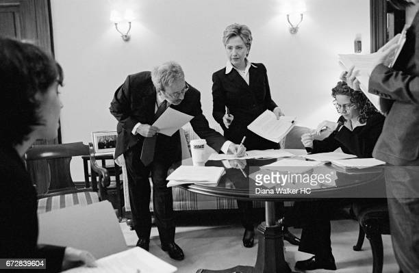 Senator Hillary Rodham Clinton and staff Gabrielle Tenzer, Jim Kennedy, Karen Dunn and Christina Ho have an early morning meeting in her office in...