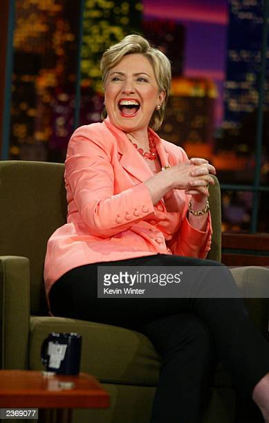"""Senator Hillary Rodham Clinton appears on the """"Tonight Show with Jay Leno"""" at the NBC Studios August 4, 2003 in Burbank, California."""