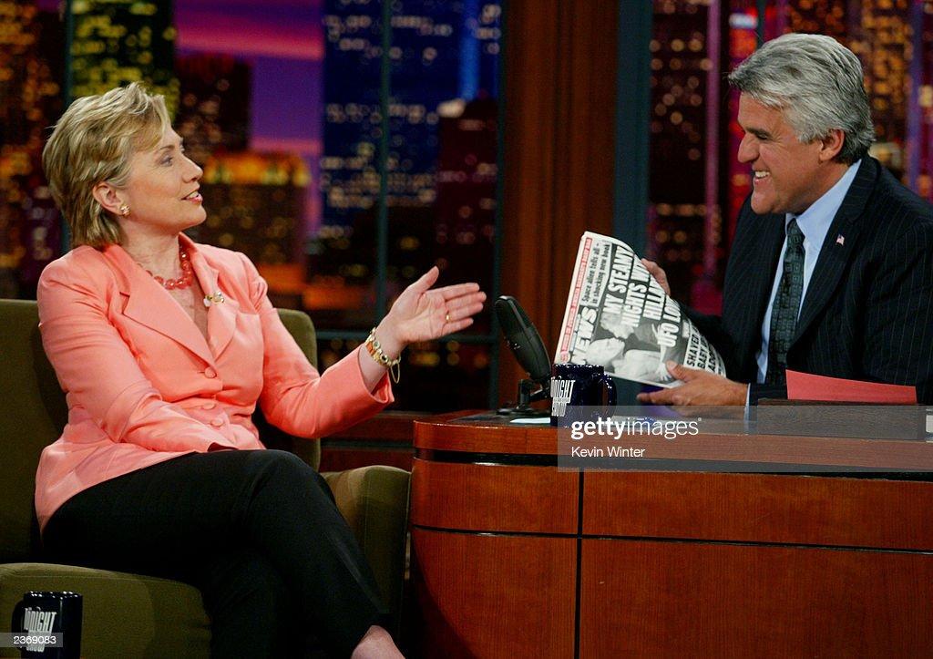 Senator Hillary Rodham Clinton and Jay Leno : News Photo