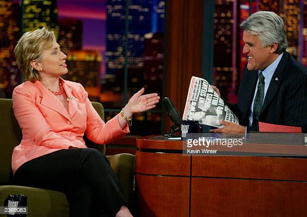 Senator Hillary Rodham Clinton appears on the Tonight Show with Jay Leno at the NBC Studios August 4 2003 in Burbank California