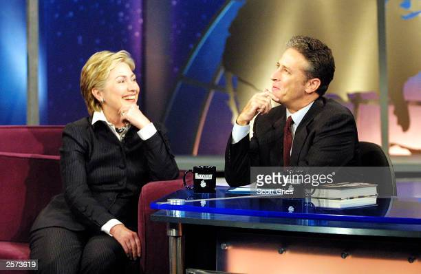 Senator Hillary Rodham Clinton appears with Jon Stewart during The Daily Show With Jon Stewart at the Daily Show Studios October 8 2003 in New York...