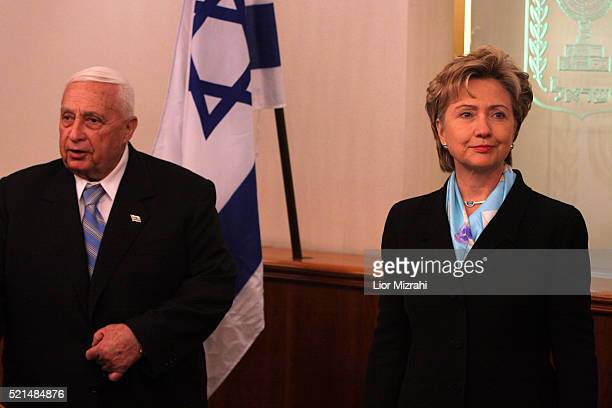 US Senator Hillary Rodham Clinton during a meeting with Israeli Prime Minister Ariel Sharon in his office in Jerusalem Sunday November 13 2005 The...