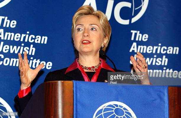 Senator Hillary Rodham Clinton gestures as she speaks at the American Jewish Committee's 98th Annual Meeting May 5, 2004 in Washington, DC. In her...