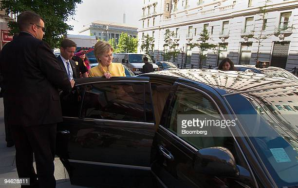 Senator Hillary Rodham Clinton gets in a Lincoln Town car after delivering a speech on energy policy at the National Press Club in Washington DC on...