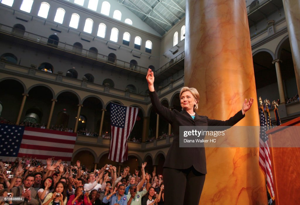 Senator Hillary Rodham Clinton is photographed during her concession speech on June 7, 2008 at the National Building Museum in Washington, DC.