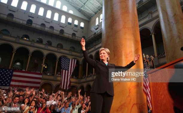 Senator Hillary Rodham Clinton is photographed during her concession speech on June 7, 2008 at the National Building Museum in Washington, DC. CREDIT...