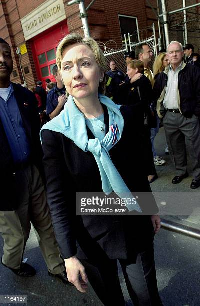 S Senator Hillary Rodham Clinton leaves the funeral of New York Fire Department Chaplain Rev Mychal Judge September 15 2001 at St Francis of Assisi...