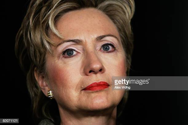 S Senator Hillary Rodham Clinton pauses prior to her speech during the 'Health Action 2005' a grassroots conference on health care January 27 2005 at...