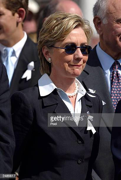 S Senator Hillary Rodham Clinton photographed during the WTC Memorial Service at the World Trade Center Site September 11 2003 in New York City A...