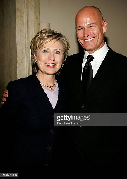 S Senator Hillary Rodham Clinton poses with Robert Hanson of Levis as they attend the HetrickMartin Institute's 2005 Emery Awards at Cipriani Wall...
