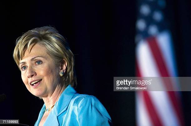 S Senator Hillary Rodham Clinton speaks during a dinner to honor Michelle Bachelet Chile's first female president May 8 2006 in Washington DC Over...