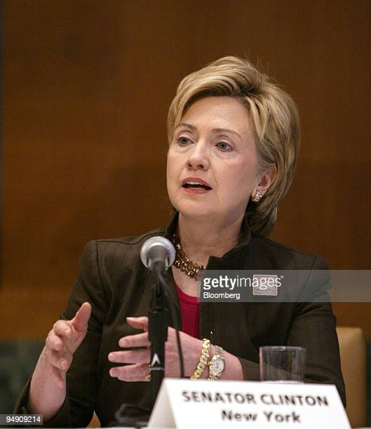 Senator Hillary Rodham Clinton speaks during a roundtable discussion held by the Business Software Alliance on Capitol Hill in Washington DC June 16...