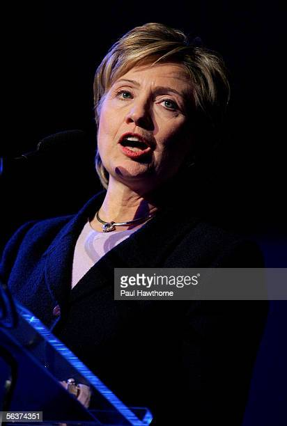 S Senator Hillary Rodham Clinton speaks during the HetrickMartin Institute's 2005 Emery Awards at Cipriani Wall Street December 7 2005 in New York...