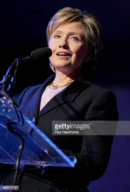 Senator Hillary Rodham Clinton speaks during the HetrickMartin Institute's 2005 Emery Awards at Cipriani Wall Street December 7 2005 in New York City