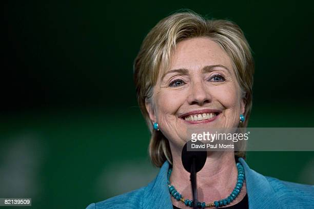 Senator Hillary Rodham Clinton speaks to members of the American Federation of State County and Municipal Employees at the Moscone Center July 31...