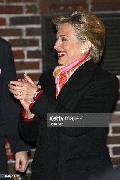 Senator Hillary Rodham Clinton visits Late Show with David Letterman on February 4 at the Ed Sullivan Theatre in New York City