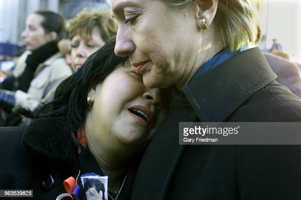 Senator Hillary Rodham comforts Maren Sarkarat the conclusion of the Family Memorial Service held at Ground Zero of the WTC held on Sunday in New...
