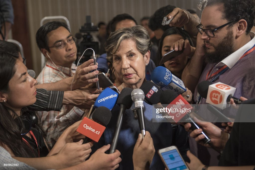 Senator Isabel Allende, daughter of late Chilean president Salvador Allende, speaks to members of the media at the New Majority coalition party headquarters after the second round presidential general elections in Santiago, Chile, on Sunday, Dec. 17, 2017. BillionaireSebastian Pineraswept to victory in the run-off of Chile's presidential election, winning by a wider than expected margin, after pledging to reverse four years of sluggish economic growth. Photographer: Tamara Merino/Bloomberg via Getty Images