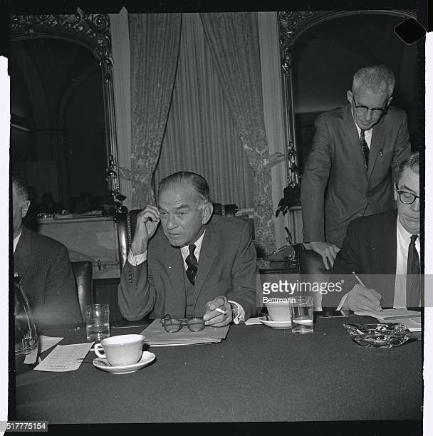 Senator J William Fulbright Chairman of the Senate Foreign Relations Committee following a 3hour meeting of his committee 1/24 said a decision on...