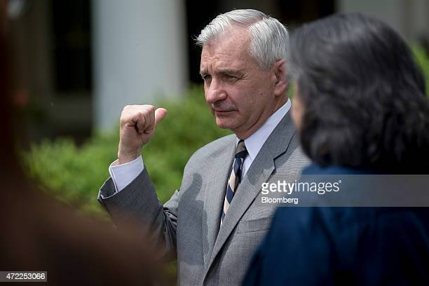 Senator Jack Reed a Democrat from Rhode Island and ranking member of the Armed Services Committee attends a nomination announcement with Marine...