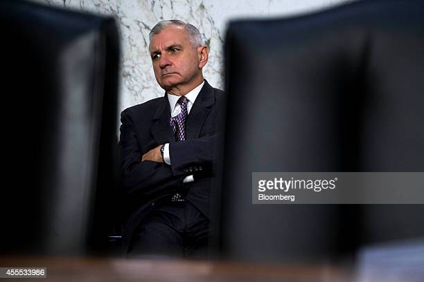 Senator Jack Reed a Democrat from Rhode Island waits to begin a Senate Armed Services Committee hearing in Washington DC US on Tuesday Sept 16 2014...