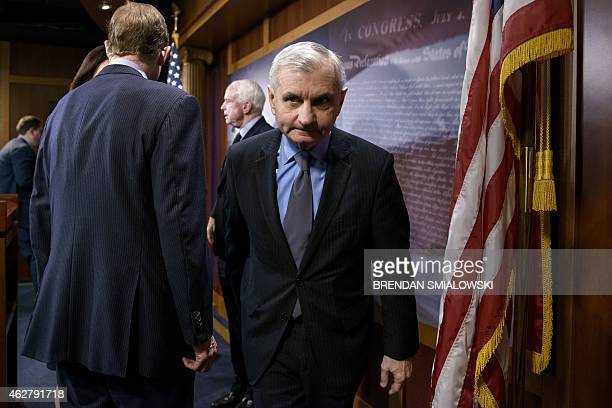 US Senator Jack Reed leaves after a press conference on Capitol Hill February 5 2015 in Washington DC The group of Senate Armed Services Committee...