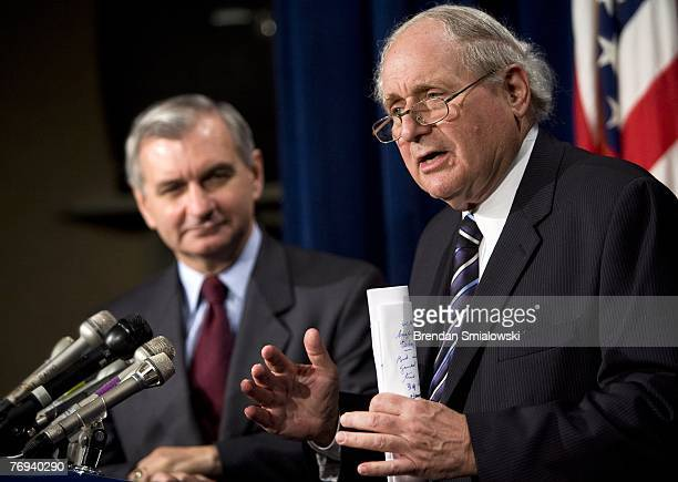 Senator Jack Reed listens to Senator Carl Levin speak during a news conference on Capitol Hill September 21 2007 in Washington DC Levin and Reed held...