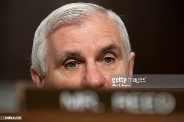 Senator Jack Reed listens to testimony during a Senate Armed Services Committee hearing on Navy readiness on April 9 2019 in Washington DC The...