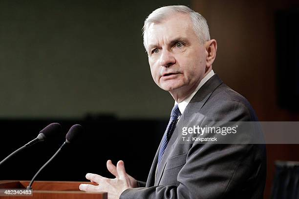 Senator Jack Reed speaks to the press after a 6135 vote in the Senate to advance the ReedHeller bill on April 3 2014 in Washington DC The bill now...