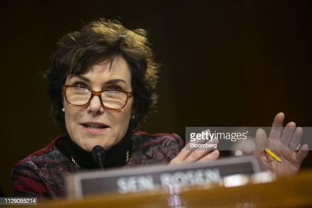 Senator Jacky Rosen a Democrat from Nevada speaks during a Senate Homeland Security and Governmental Affairs Committee hearing in Washington DC US on...
